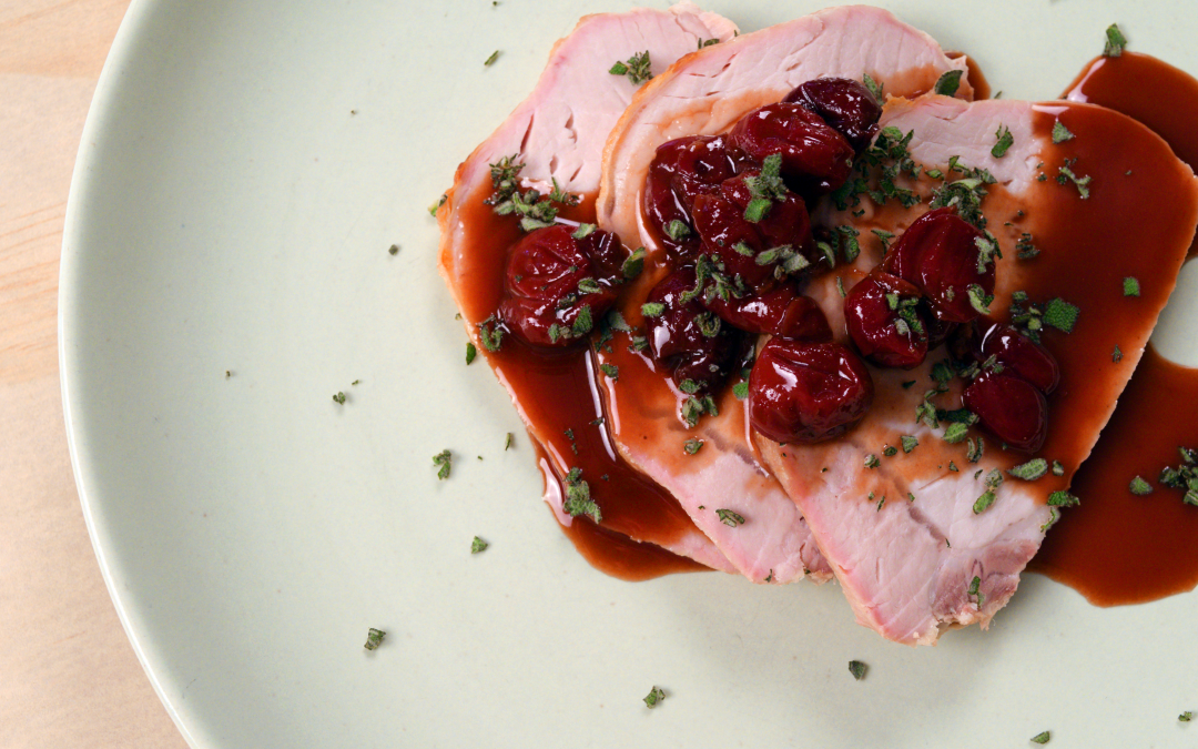 Pork Roast with Spiced Cherries and Mustard Sage Sauce